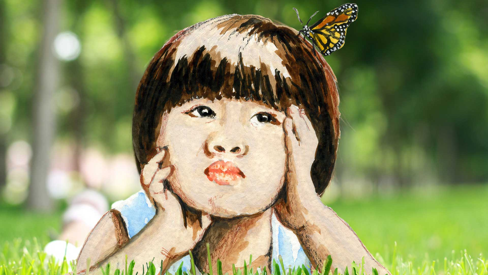 Book Illustration Girl with Butterfly